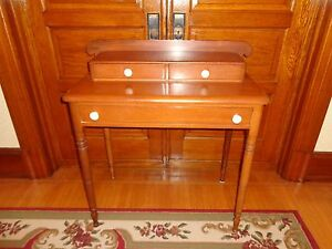 Antique Sheraton Softwood Step Back Table Stand With Three Drawers Wood