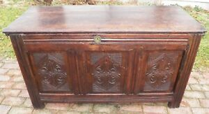 English 1600 S Antique Oak Chest Carved Panel Trunk Blanket Box Rustic Primitive