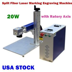 Us Stock 20w Split Fiber Laser Marking Engraving Machine Ratory Axis Include