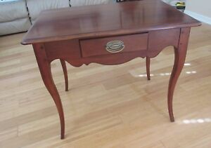 Table Drexel Walnut With Drawer With Distressed Finish 32 Wide Apron Profile