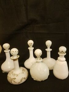 Antique Victorian Barbershop Milk Glass Decanter Collection