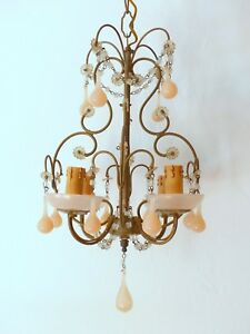 Vintage Macaroni Beaded Chandelier Murano Opaline Pink Drops Cups 1920 Sconce