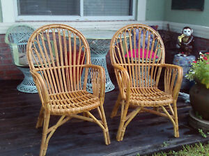 Pair Of Vintage Burnt Bent Bamboo Arm Chairs