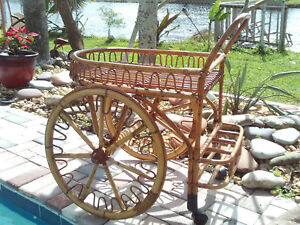 Unique Rare Vintage Mid Century Bamboo Rattan Bar Cart On Wheels 1950 S