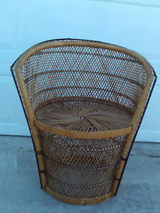 Vintage Mid Century Bohemian Wicker Arm Chair With Black Wrap