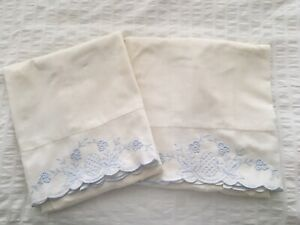 Vintage Hand Embroidered Off White Pillowcases