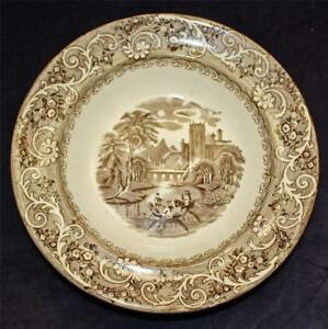 Antique Brown Transferware Shallow Bowl With River Scene