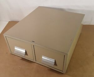 Industrial 2 drawer Index Card File Metal Cabinet Good Used Condition