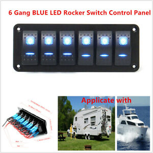6 Gang Blue Led Rocker Switch Control Panel Circuit Light For Car Rv Boat Marine