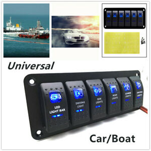 6 Gang Blue Led Rocker Switches Control Panel Circuit Charger Car Marine Yacht