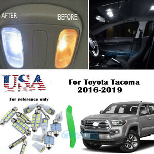 12x White Led Interior Lights Package Kit For 2016 2019 Toyota Tacoma tool Us