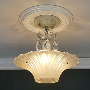 706 Vintage Art Deco Ceiling Light Chandelier Fixture Glass Cream 3 Light