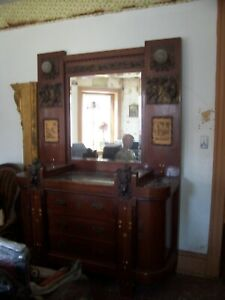 Vintage Ornamental Marble Top Dresser Bureau With Beveled Mirror