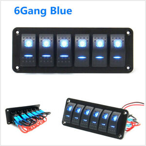 Blue Led 6 Gang Rocker Switch Control Panel Circuit Charger Car Race Boat Marine