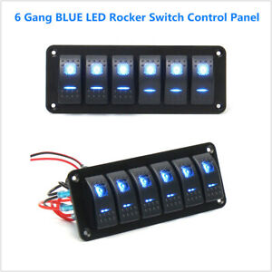 Blue Led Rocker Switch Control Panel Circuit Chargercar Race Boat Marine 6 Gang