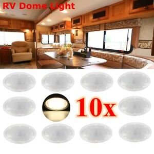 10x Led For Camper Car Rv Boat Interior Ceiling Roof Dome Pancake Round Light
