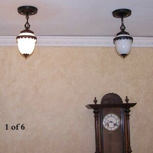 236b Vintage Colonial Brass Glass Pendant Light 1 Of 2 Kitchen Porch Hall Entry