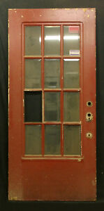 36 X79 Vintage Walnut French Exterior Entry Door Beveled Glass Lite Window Pane