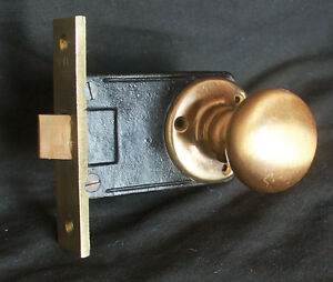 Antique Vintage Nos Bronze Brass Interior Passage Door Lockset Knob Plate Lock