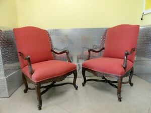 Pair Tall Red French Louis Xv Armchairs By L Brandy S Inc