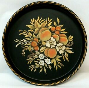 Hand Painted Floral 13 Round Black Metal Tole Tray