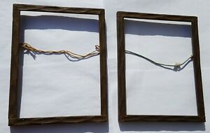 Pair Vintage Antique Rustic Wood Frame Carved Distressed Lot Of 2 Approx 6x8