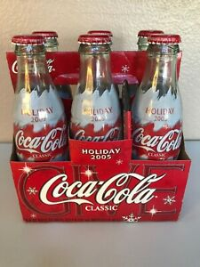Holiday 2005 Commemorative Coca-Cola 6 Pack 8 oz Glass Bottles with Polar Bear