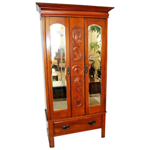 Antique Armoire Wardrobe Closet Mirrored Beveled Doors Bottom Drawer Carved Woo