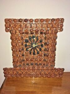 Walnut Shell Clock Handmade Folk Art Battery Operated