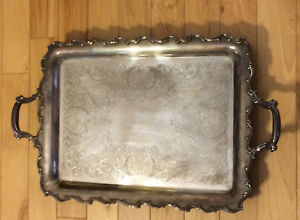Heavy Vintage Ornate Silverplated Butler S Footed Serving Tray With Handles