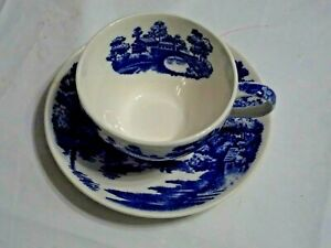 Tea Coffee Cup And Saucer Set Lakeview Pattern Nasco Japan Blue