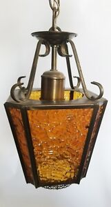Vintage Mid Century Pebble Amber Glass Lantern Pendant Ceiling Light Lamp