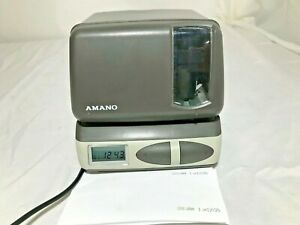 Amano Time Recorder Clock Time Stamper Model Pix 21 W Power Cord No Key