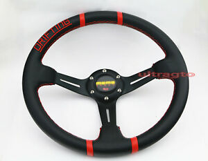 350mm Deep Dish Black Pvc Racing Red Stitch Drifting Sport Jdm Steering Wheel