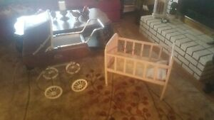Vintage Antique Baby Doll Carriage Pram Stroller And Crib Collectible Local Pu