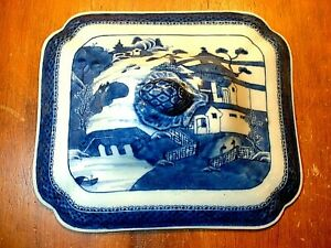 Antique Chinese Porcelain Blue White Canton Export Tureen Cover