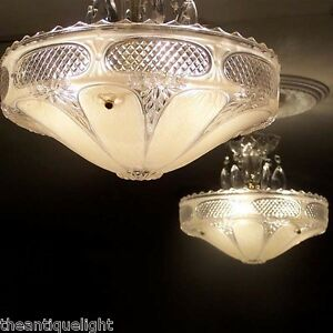 333 Vintage 30s 40s Ceiling Light Lamp Fixture Chandelier Re Wired Soft Pink