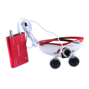 Dental Led Head Light Lamp Wtih Surgical Medical 3 5x r Binocular Loupes Red