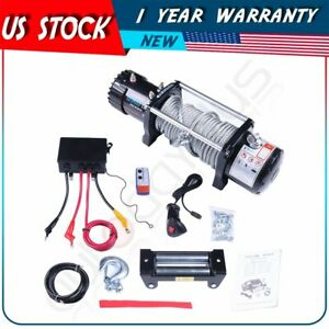 12v 9500lbs Electric Recovery Winch 8 5mm 24m Steel Cable Off Road For Hummer