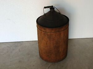 Antique Oil Can Wood Wrapped Metal Kerosene Fuel Oil Gas Can 5 Gallon