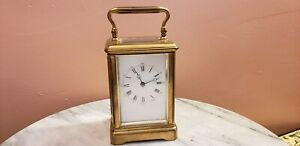Antique Rare French Brass Beveled Glass Striking Repeater Carriage Clock
