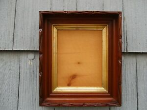 Nice Antique Carved Rustic Walnut Deep Wood Picture Frame With Glass Fits 8x10