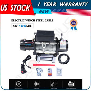 12000lbs Electric Winch Towing Steel Cable Offroad For Jeep Cherokee 12v Sealed