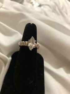 Sterling Silver Gold Plated Ladies Marquis Ring Size 7