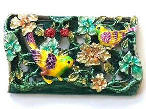 New Rucinni Business Card Holder Case Birds Flowers Swarovski Crystals Jeweled