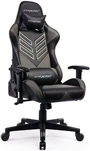 Executive Racing Gaming Chair Adjustable Recliner Computer Office Desk Seat Gray