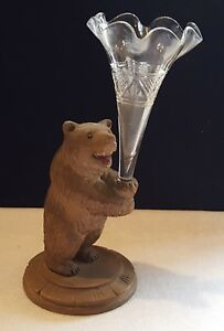 Black Forest Carved Oak Clear Glass Vintage Victorian Antique Bear Design Vase
