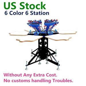 Us 6 Color 6 Station Manual Screen Printing Press Micro adjust Rotatable Machine
