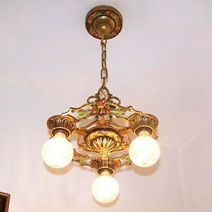 201b Vintage 10 S 20s Art Nouveau Ceiling Fixture Polychrome 3 Light