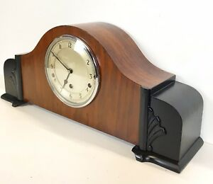 Large Art Deco Walnut Ebony Finish Quarter Chiming Mantle Clock Supurb